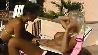 Stunning bronze skin sassy sluts by the pool having wild lesbian sex