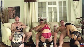 Emma Louise and her slutty girlfriends ride cocks in group sex