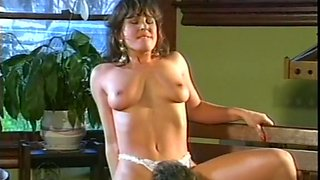 Beautiful and young brunette with hairy pussy receives cunnilingus