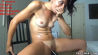 Warm milf masturbates with toys and squirts