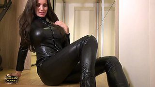 Fantastic brunette milf in black leather suit makes you hard