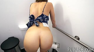 Sexy Czech babe railed in public toilet for some money