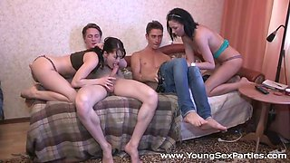 Tempestuous Russian girls deepthroat sucking in foursome action