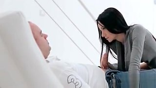 Sensual kissing scene with gorgeous brunette teen