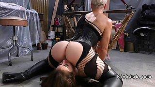 blonde mistress spanked brunette sub