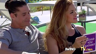 Excited husband makes out with other chicks at the swingers pool