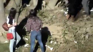 Spanish girls pee on public