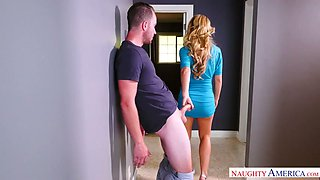 Bosomy yummy mommy Cherie DeVille gives sloppy fellatio to her brutal lover in bed