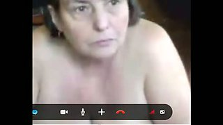 I am an old lady with big saggy tits and I love masturbating on Skype