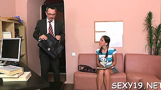 Lovely chick is getting spooned by lustful old teacher