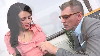 Likable dark haired coed chick Kate Rich thirsts for riding dick