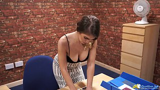 British secretary Katie Louise and her boobs popping out of shirt