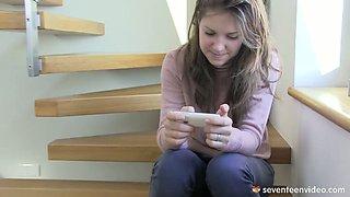 Sweet teen Suzi rubs her sensitive clitoris after receiving hot sms from her boyfriend
