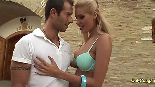 Giant breast milf blondies blowing and riding hard over two massive meat poles
