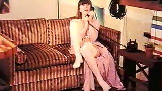 Slender classic white brunette in white lingerie masturbating