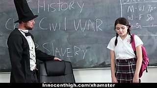 InnocentHigh - School Girl Pressured To Strip and Fuck Teach