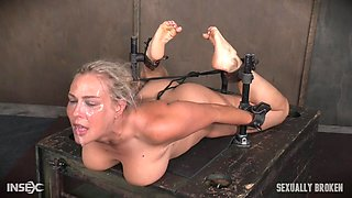 Tied up blonde MILF choked and humiliated by a cock