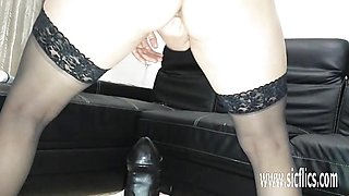 Sarah fucks colossal dildos in her greedy hole