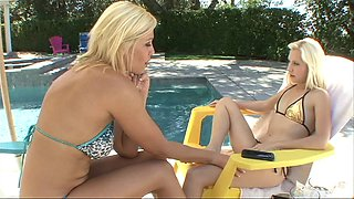 Milf and teen in a bikini go the bedroom for hot lesbian fucking