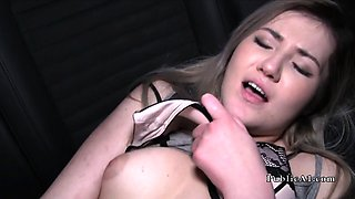 Blonde Euro babe fucks stranger in his car