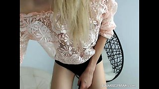Redhead Secretary doing striptease and masturbation