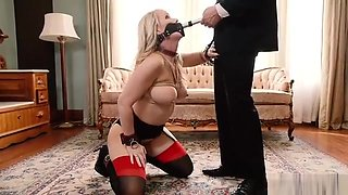 Blonde slave fucks butler and maid