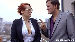 Jaw dropping French milf Emy Russo seduces new secretary and licks her yummy slit