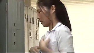 Japanese nurse fucked in locker room