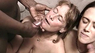 Mature white hoe and brunette cutie getting facialized