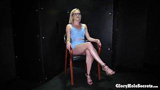 Blonde gloryhole cocksucker eats so much cum
