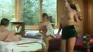 Sexy sluts get fucked doggystyle in terrific FFM retro clip