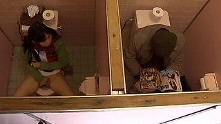 junior girl and older man have sex in public toilet