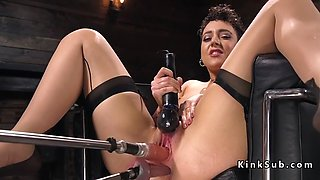 Hot ass babe in stockings rides machine