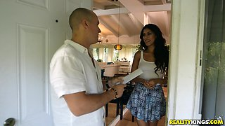 Bald guy finally gets to bang smoking hot Sophia Leone on the table