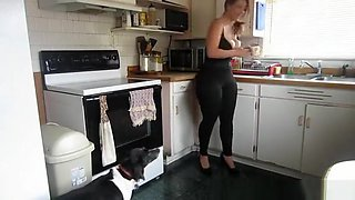 Huge ass woman in kitchen