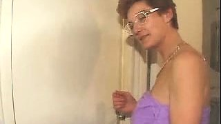 Busty mature lady with glasses gets roughly double drilled