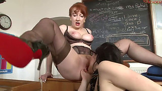 Mature teacher with horny lesbian student