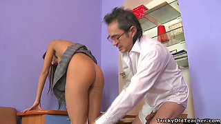 Perverted teacher fucks naughty college girl on the table