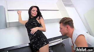 Kitchen drilling with amazing and horny Milana