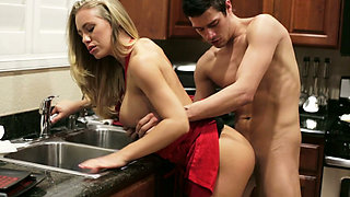 Horny Xander Corvus doggy fucks his saucy busty babe at kitchen tough
