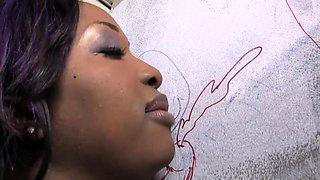 Busty Ebony Aryana Starr Sucks Big White Cock - Gloryhole