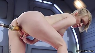 Shaved pussy pale blonde bangs machine