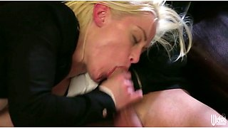 Horny blond chick in black jacket sucks hard dicks of two brutal studs with passion