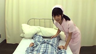 Japanese nurse gives a steamy blow job and gets a mouthful