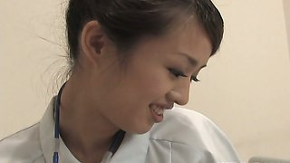 Slutty Japanese nurse Ami Matsuda flirts with a patient and gives him a blowjob