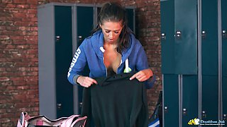 Big tittied babe Jemma shows off her juicy ripe boobies in the locker room