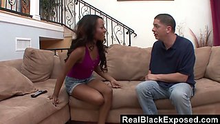 Black chick Karmin Renee hooks up with her white neighbor