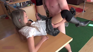 Bitch in a schoolgirl outfit gets a quickie creampie