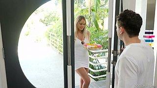 Bosomy blonde Alexis Adams is cheating on her boyfriend with his best friend