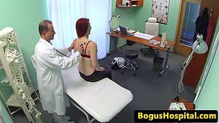 Cock loving redhead riding her doctor